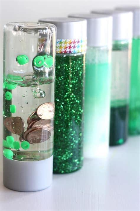 st patricks day science discovery bottles  bins