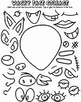 Collage Wacky Face Coloring Crayola Pages Faces Cut Glue sketch template