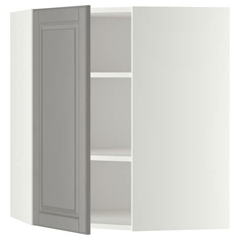 ikea corner wall cabinet metod corner wall cabinet with shelves white bodbyn grey