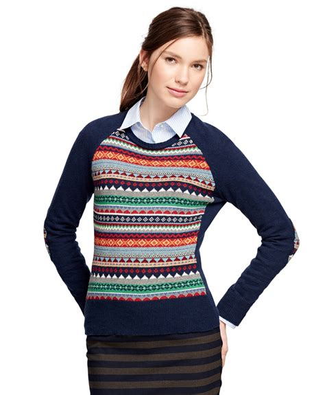 fair isle sweater womens brothers cotton blend fair isle sweater in