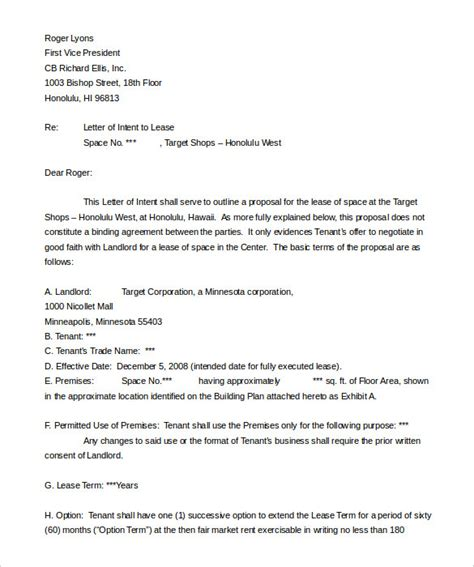 real estate letter  intent templates  sample