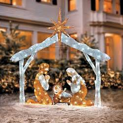 large 72 quot twinkle led lighted christmas figures outdoor nativity lawn set tinsel ebay