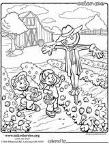 Coloring Pages Farm Garden Vegetable Scarecrows Berries Printable Icolor Colouring Sheets Adult Mike Scene Related Books Animal Barn Dorse Tractor sketch template