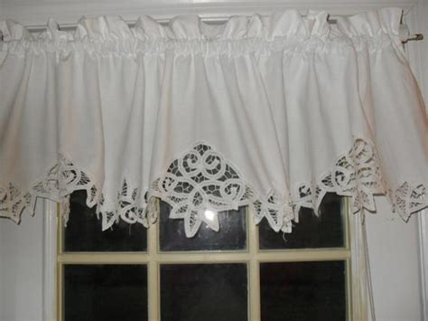 On Sale White Shabby Battenburg Lace Valance Country Curtain