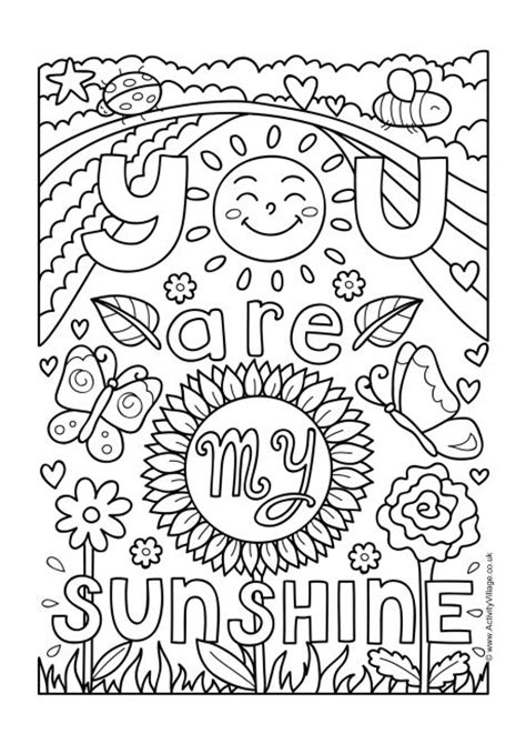 sunshine colouring page