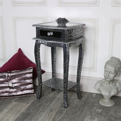 silver embossed mirrored slim bedside table