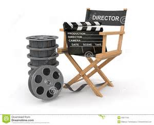 Old Fashioned Chair by Movie Industry Producer Chair And Film Reel Stock Photo