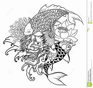 Demon Japonais Dessin : le masque de d mon et le tatouage japonais de poissons de carpe con oivent masque tir par la ~ Maxctalentgroup.com Avis de Voitures