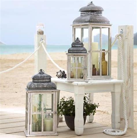 laterne für terrasse sommer deko ideen windlichter strand look flaschen