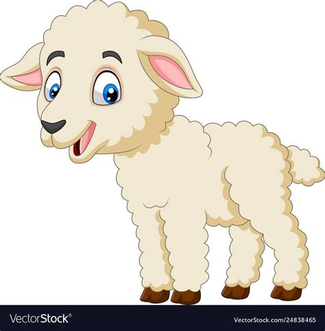 cartoon happy lamb isolated  white background vector