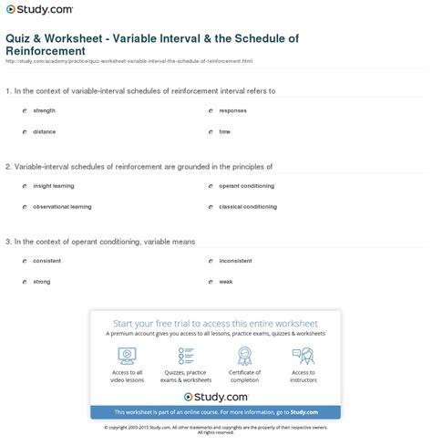 Quiz & Worksheet  Variable Interval & The Schedule Of Reinforcement Studycom
