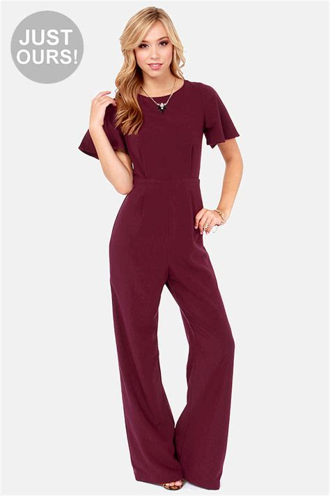 lulus jumpsuit burgundy jumpsuit backless jumpsuit wide leg