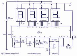 Digital Voltmeter Circuit With Icl7107electronics Project