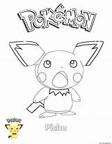 Coloring Pokemon Pichu Pages Printable sketch template