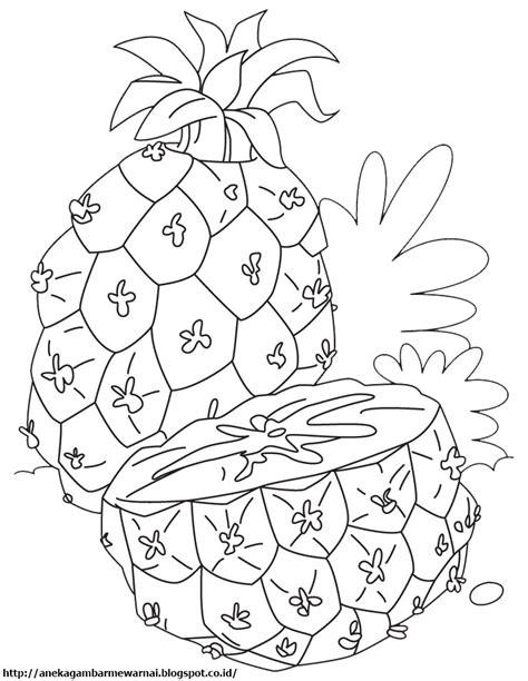 gambar mewarnai buah nanas untuk anak paud dan tk