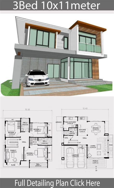 Home design plan 10x11m with 3 bedrooms Home Ideas