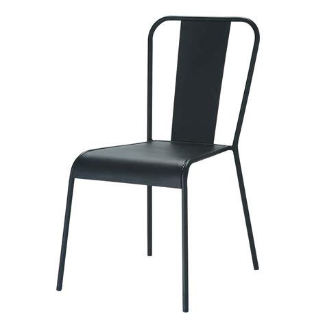 chaise indus en metal noire factory maisons du monde