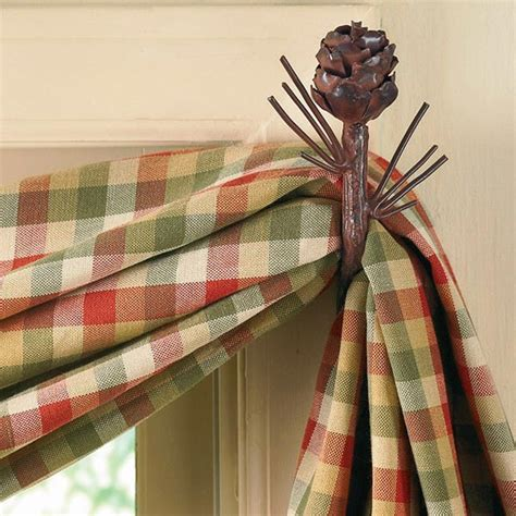 pine cone curtain rods black curtain rod and bracket set cabin place