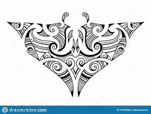 Manta Ray Maori Tattoornament Vektor Illustrationer