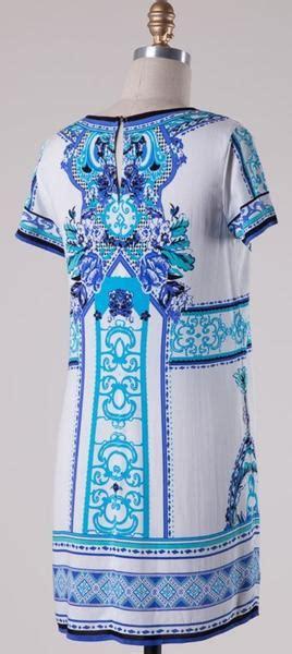 short sleeve print shift dress blue top shelf wardrobe
