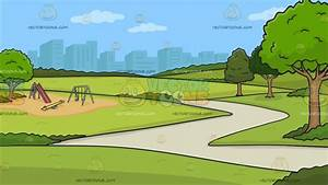View Of A Park With Playground Background Cartoon Clipart ...