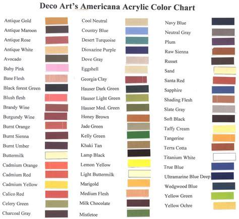 Americana Paints Color Chart