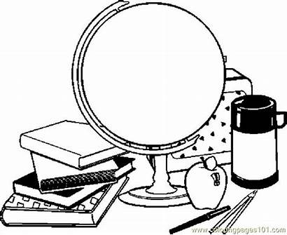 Supplies Pages Coloring Printable Clipart Globe Education