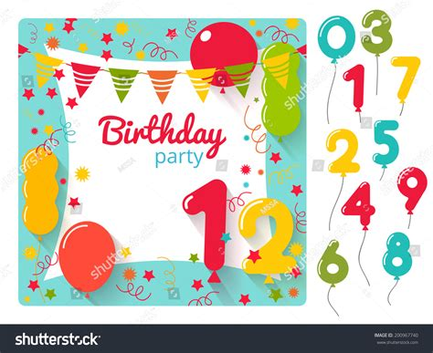 vector birthday party invitation card design stock vector