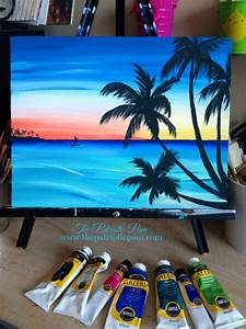 Sunset, paddle boarder, beach acrylic painting on an 11 x ...