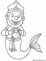 Merman Coloring Hungry sketch template