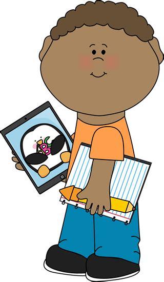 Kid with iPad Clip Art