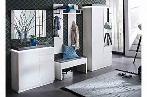 Meuble D Entrée Blanc : ensemble de meubles d 39 entr e blanc et gris cbc meubles ~ Teatrodelosmanantiales.com Idées de Décoration
