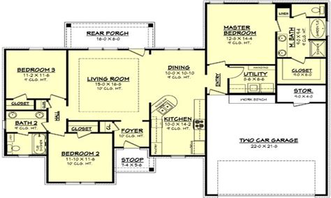 1500 sq ft floor plans 1100 square 1500 square 3 bedroom house plan