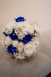 Royal blue, cobalt blue, silver and white wedding flowers ...