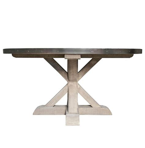 x base dining table lewiston industrial loft zinc top x base round dining table