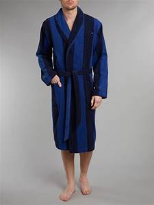 tommy hilfiger terry stripe robe in blue for men lyst With tommy hilfiger robe
