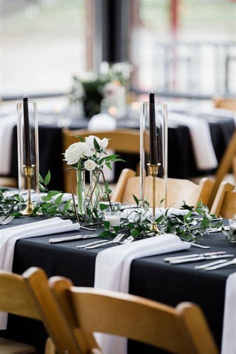 elegant black  white wedding table settings