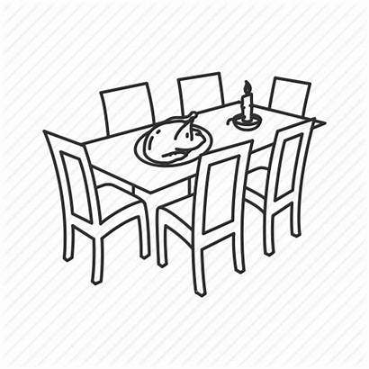 Table Dinner Thanksgiving Drawing Candle Turkey Icon