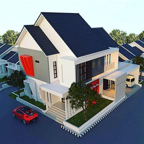 desain atap rumah minimalis modern  warna biru