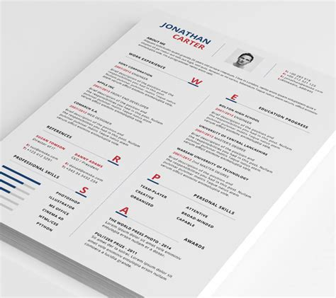 Modern Resume Layout 2015 by Modern Resume Template Psd Word