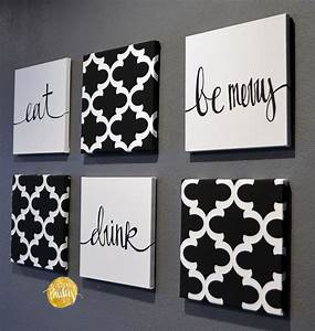 black and white moroccan 6 pack wall art With kitchen colors with white cabinets with home sweet home canvas wall art