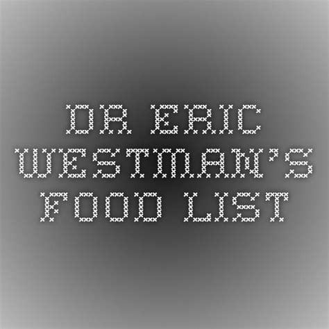 dr eric westmans food list lchf meal plans
