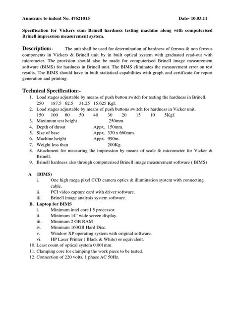 Specification to Vickers cum Brinell hardness testing