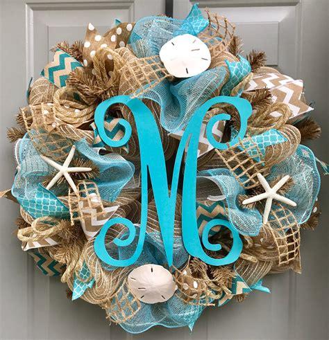 Beach Burlap Deco Mesh Wreath With Monogram Seashell Wreath