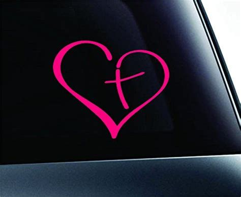 Heart with Cross Bible Christian Symbol Decal Funny Car ...