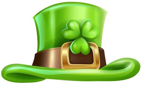 St Patricks Day Hat With Shamrock Transparent Png Clip Art