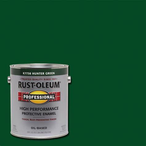 rust oleum professional 1 gal high performance protective enamel gloss hunter green based