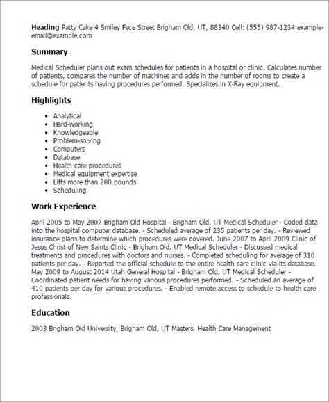 Surgery Scheduler Resume Sle by Resume Scheduler Sales Scheduler Lewesmr Resume Scheduler