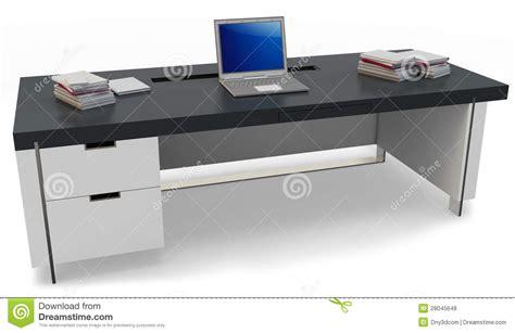 bureau laptop 3d bureau met laptop en uitvoerende stoel stock