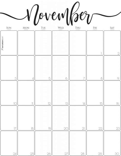 elegant vertical november  calendar  printable